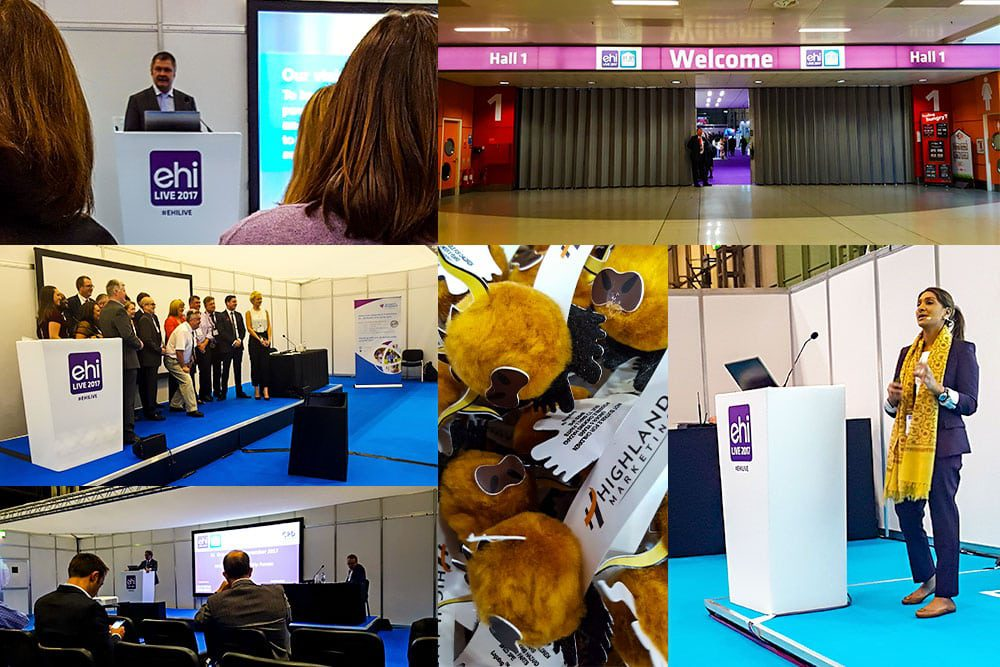 EHI Live 2017, from top left: the entrance hall, Fatima Paruk from Allscripts, Highland Marketing mini-cows, Will Smart from NHS England, the EHI Awards winners, Rob Shaw from NHS Digital.